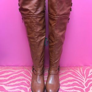 JustFab Brown Thigh High Boots
